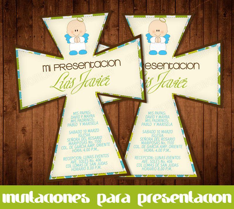 Invitacion De Presentacion en cruz | Bautizo | Pinterest
