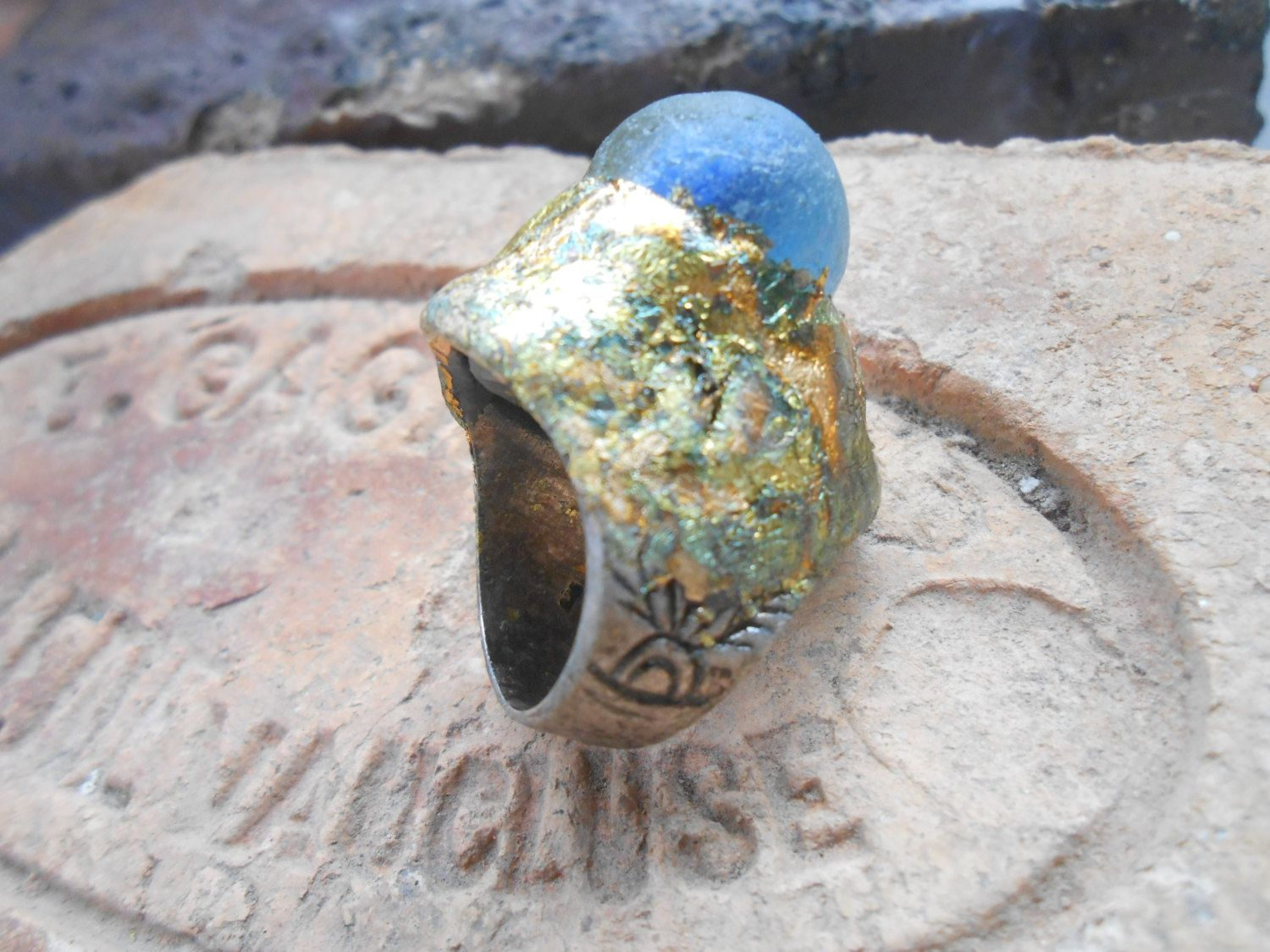 Frosted Gem~ Sea glass marble ring, found objects jewelry, reclaimed findings, gold leaf by RosinTrails on Etsy