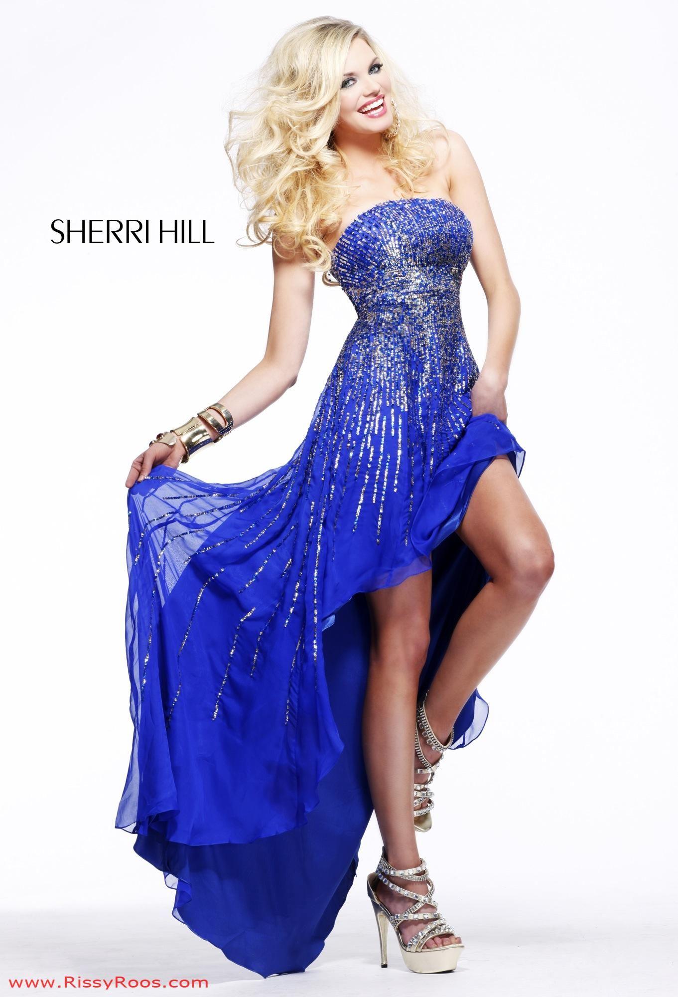 Find sherri hill royal sequin hi lo strapless prom dresses