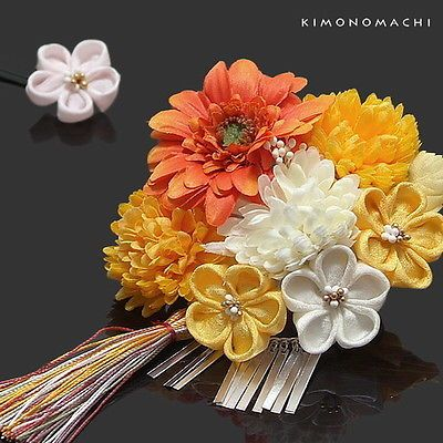 Geisha Kanzashi Comb Kimono Hairpin Finger Grip Dahlia Orange Yellow Marguerite | eBay