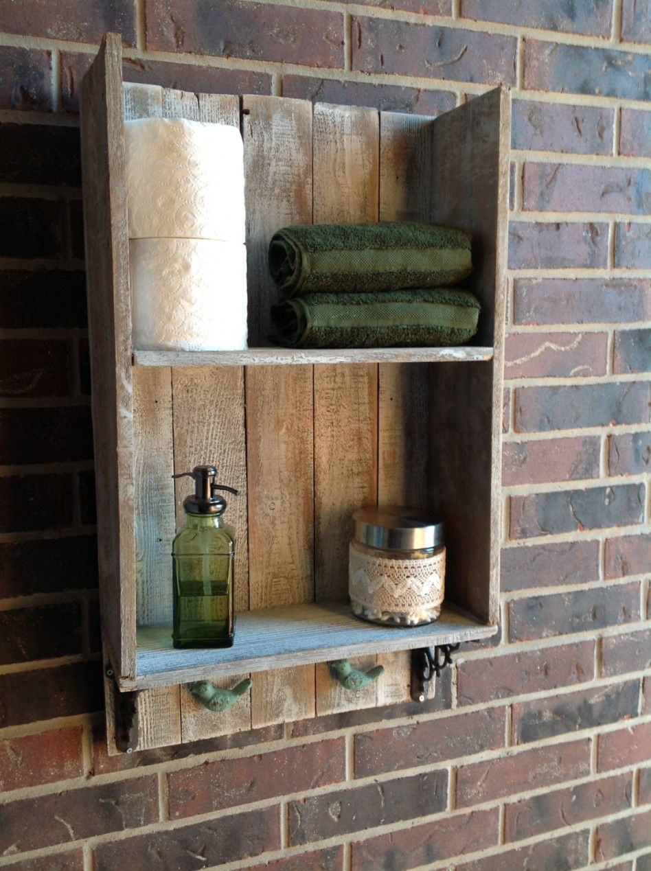Bathroom, Rustic DIY Recycled Wood Bathroom Shelving For