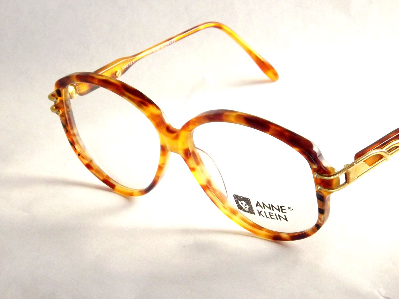 a10d586de1 Vintage Designer Eyewear - Anne Klein - Tortoise Shell Eyeglasses - Womens  Round Gold and Diamond Accents 80s Vintage New Old Stock Frames.