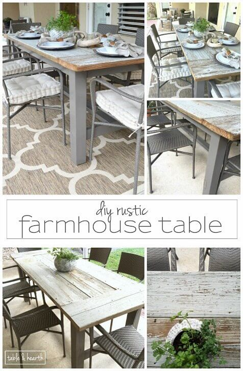 DIY Farmhouse Table Gorgeous This blogger used discarded old lumber to make a rustic statement dining table for their outdoor patio - build your own farmhouse table