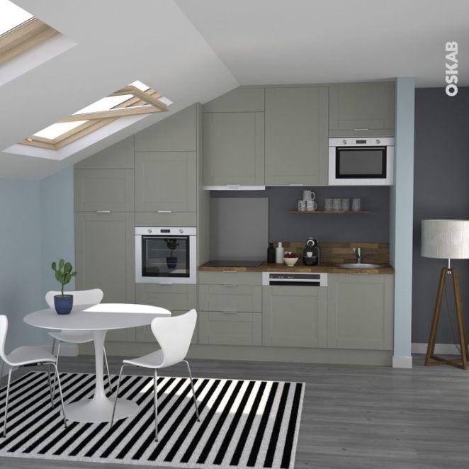 Idée relooking cuisine Petite cuisine grise en I plan de travail - idee de plan de maison