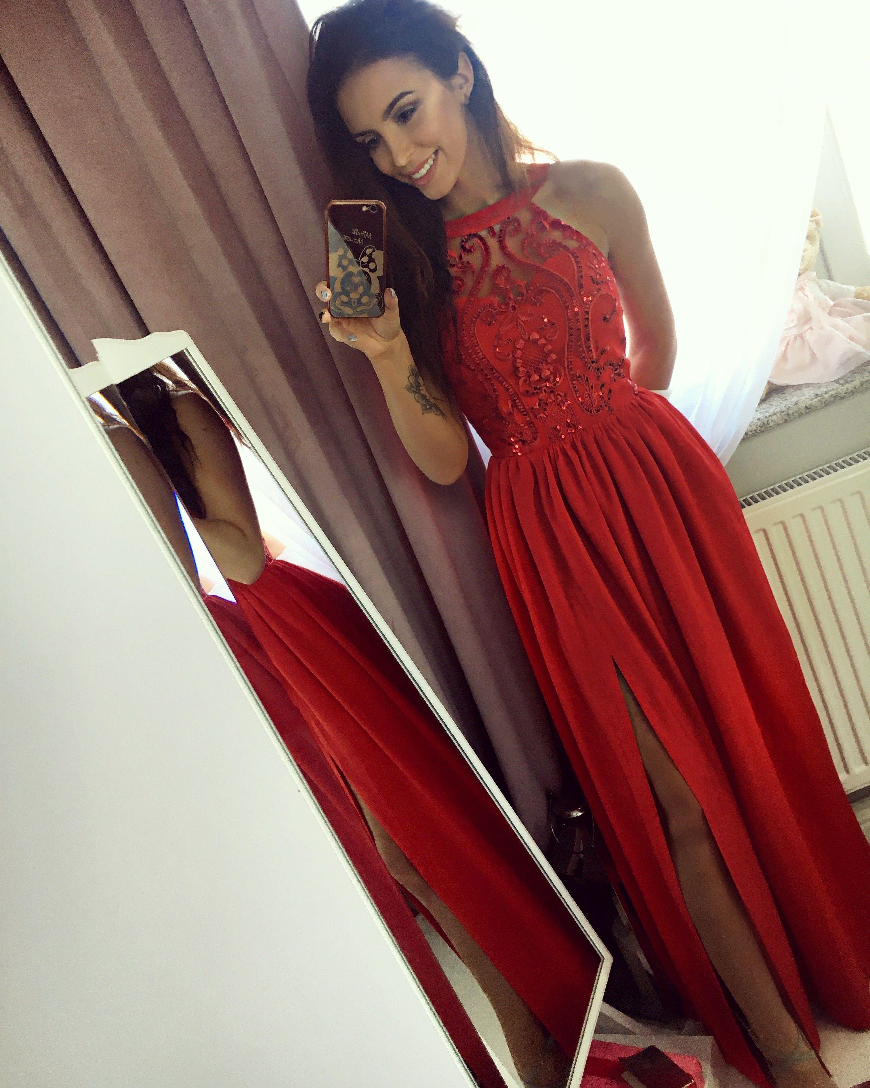8251c02196 Czerwona długa sukienka na wesele  Maxi red dress Suknie Wieczorowe