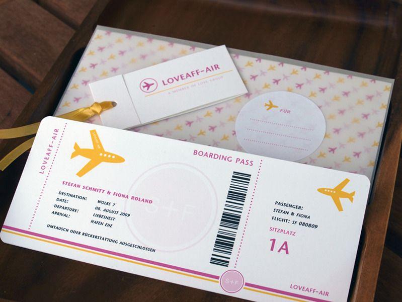 Boarding Pass 02 Hochzeitskarte für Geldgeschenke