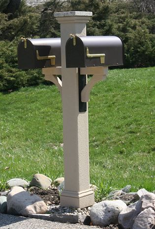 Textured Double Mailbox Post With Granite Post Cap Double Mailbox Post Mailbox Landscaping Mailbox Post