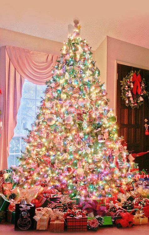 pretty christmas trees christmas tree goals christmas tree colored lights - Colorful Christmas Tree Decorations