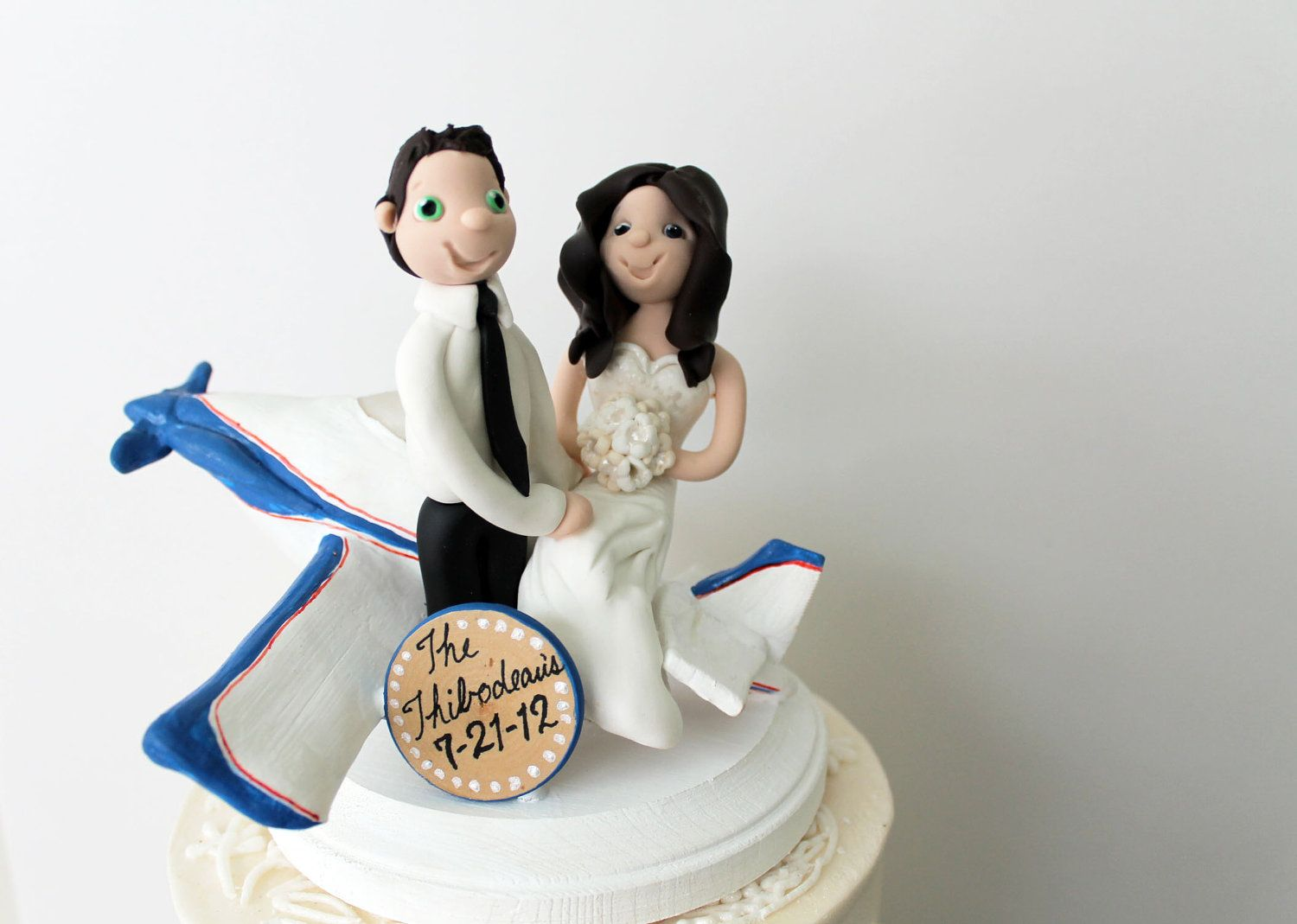 Custom Airplane Wedding Cake Topper - Bride and Groom with ...
