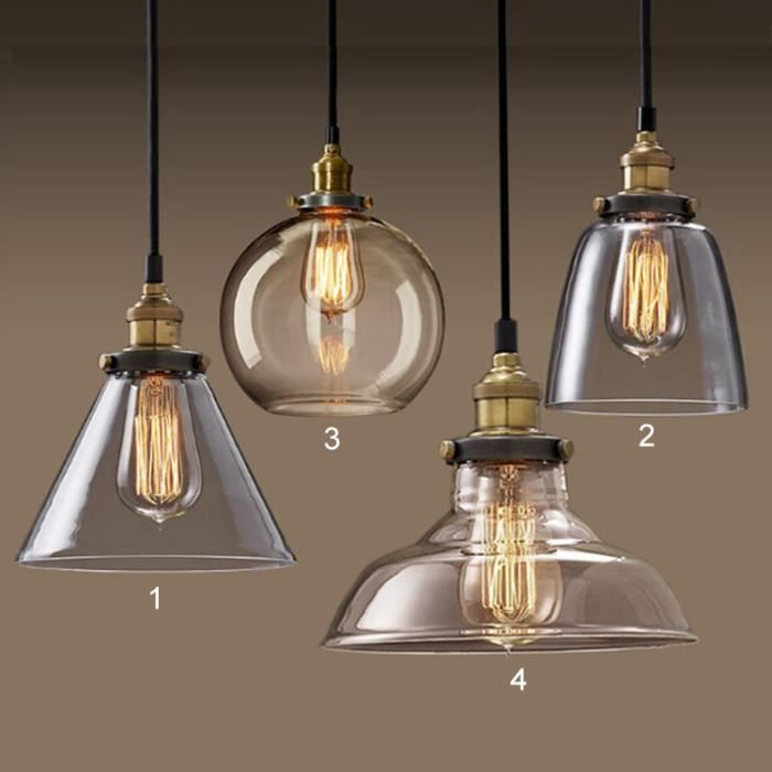 Lustre et suspension suspension r tro lustre verre vintage for Suspension luminaire 3 lampes