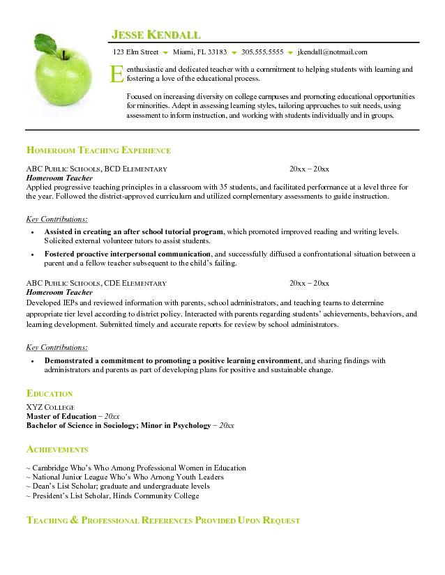 example of resume format for teacher Free Homeroom Teacher Resume - nutrition aide sample resume