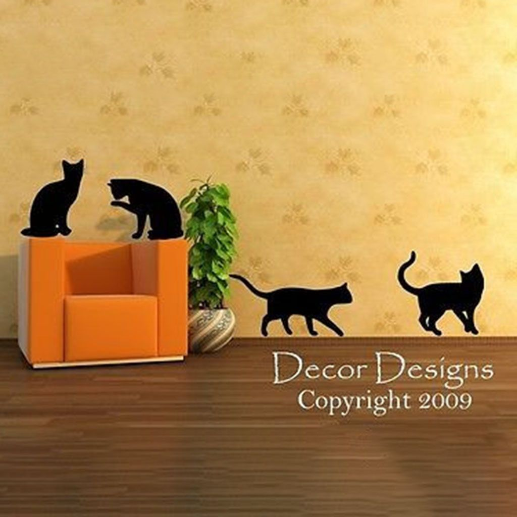 Four Playful Kitty Cats Vinyl Wall Decal Sticker | Wall decal ...