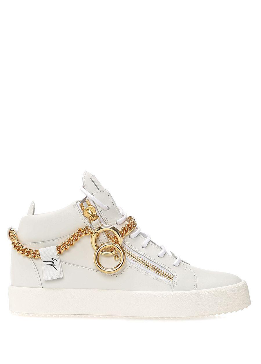 Giuseppe Zanotti Beyaz Kadin Beyaz Gold Zincirli Kadin Deri Sneaker 590212 Beymen Sneaker Giuseppe Zanotti Tekne Ayakkabi