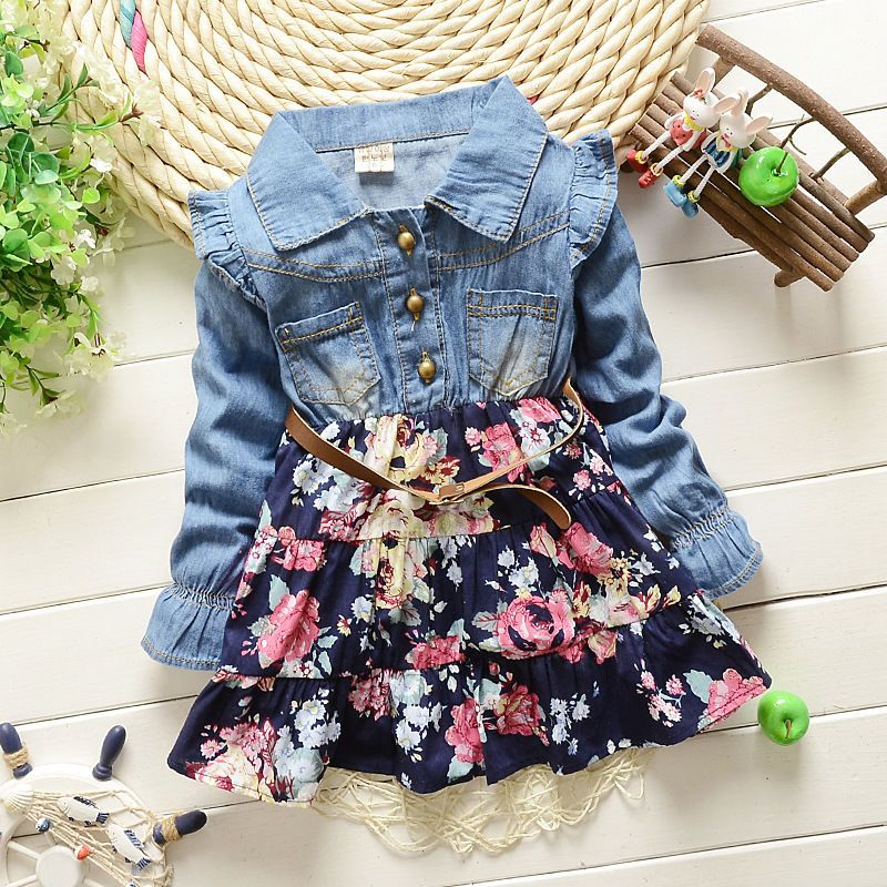 d8c62a24c Baby Girl Dresses Denim T-shirts Girls Floral Clothes Ruffles Long ...
