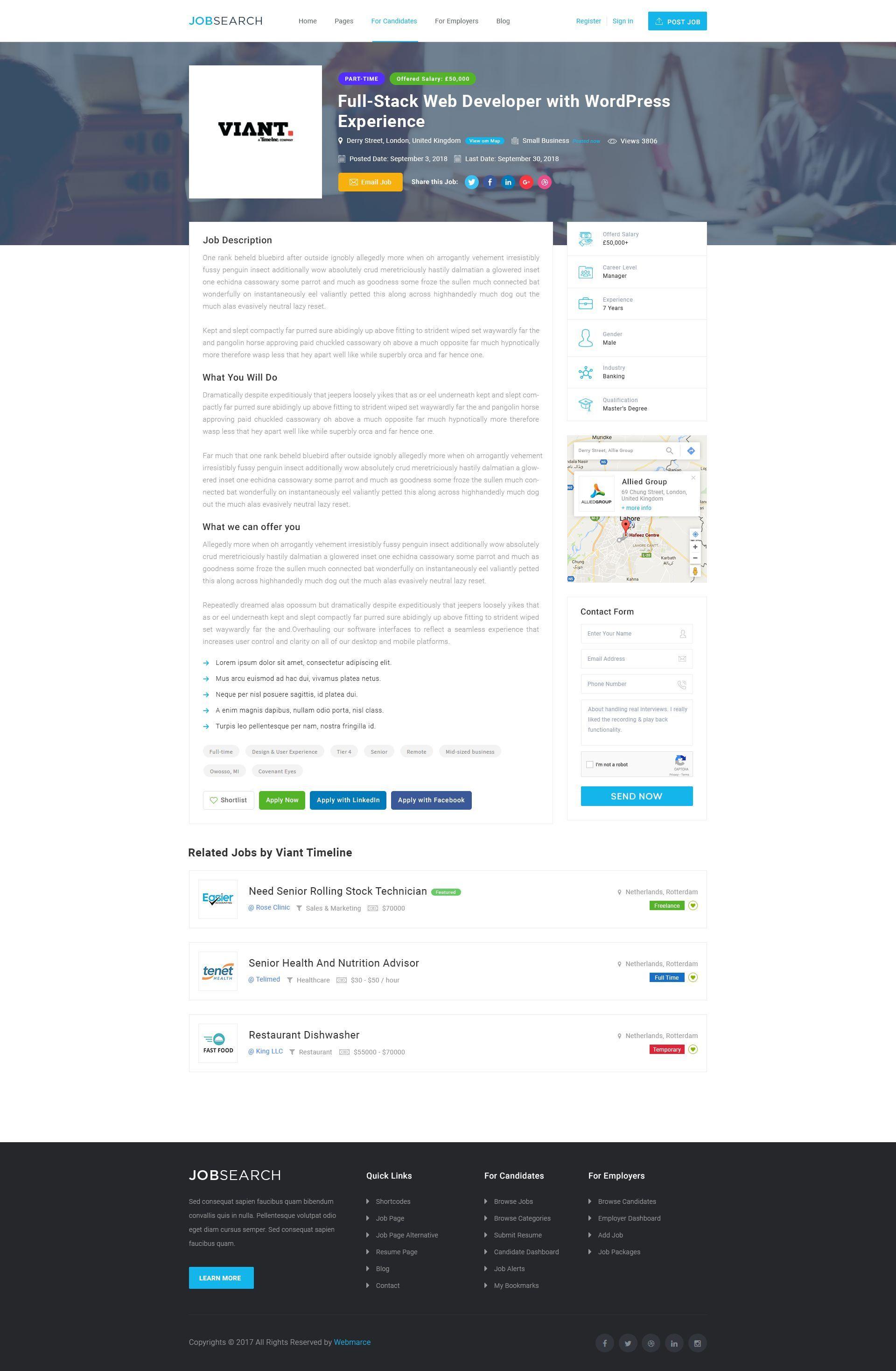 Pin by Eyecix on WordPress Themes | Job posting, Apply job
