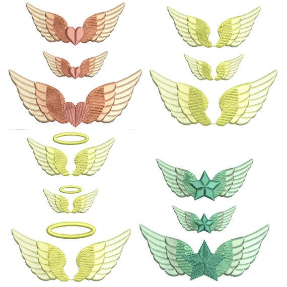 Angel Wing Machine Embroidery Design 3 Mini Sizes Pretty Angel Embroidery For Small S Angel Wings Embroidery Design Embroidery Design Sets Embroidery Designs