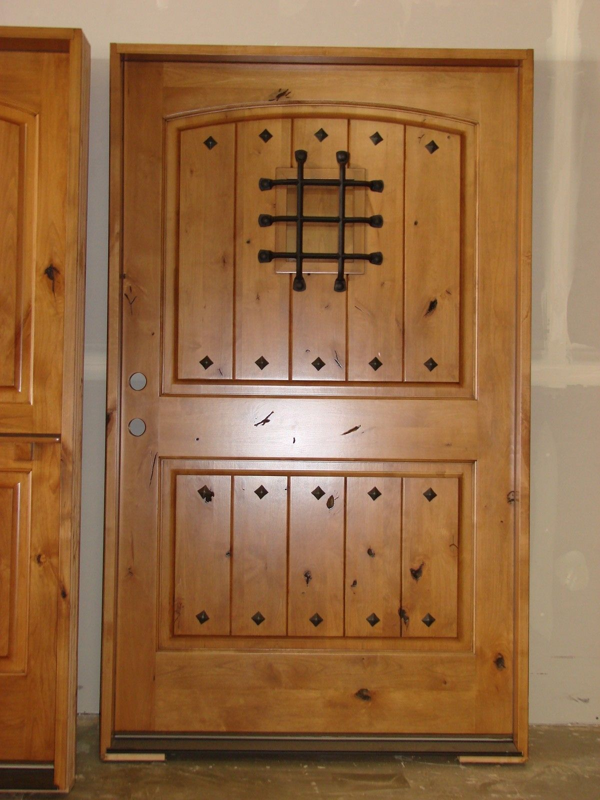 Exterior knotty alder rustic front entry doors 48 x 80 for Custom wood doors