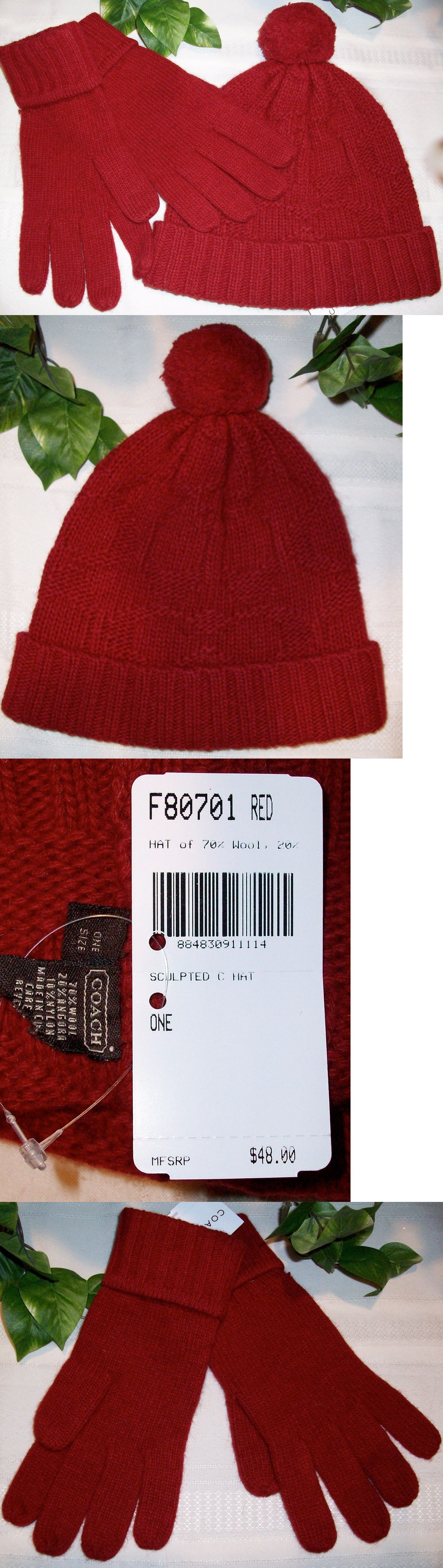 Mixed Items and Lots 15738: Coach Sculpted C Hat 80701 Sculpted C Gloves 80703 Set Red Nwt Wool Blend -> BUY IT NOW ONLY: $47.99 on eBay!
