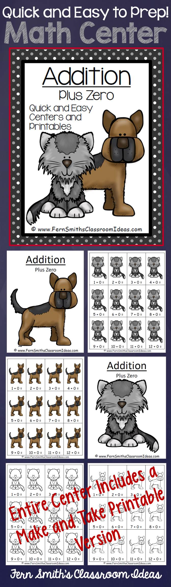 Addition Plus Zero - Quick and Easy Kittens and Puppies Centers and Printables #TPT $paid
