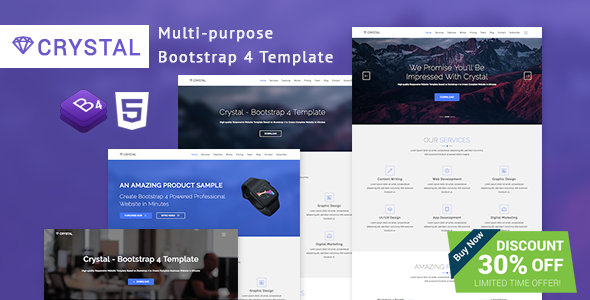 Crystal - Bootstrap 4 Template | WordPress Themes | Html