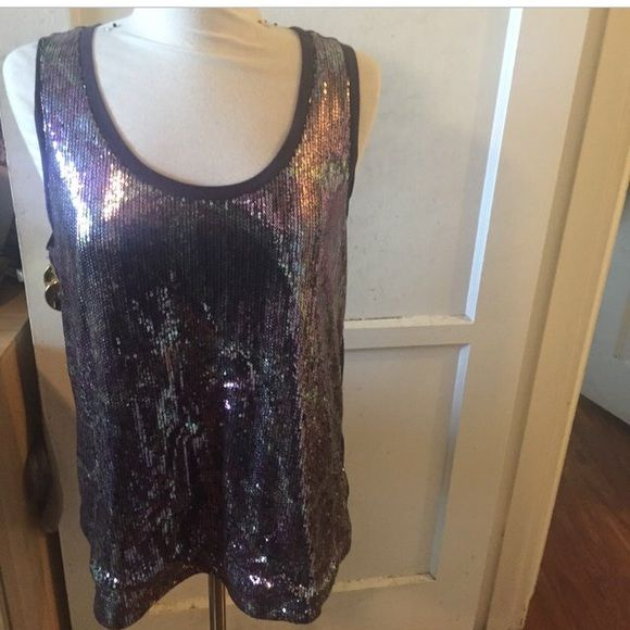 Purple metallic sequined sleeveless party shirt Sequined great condition Tops Blouses