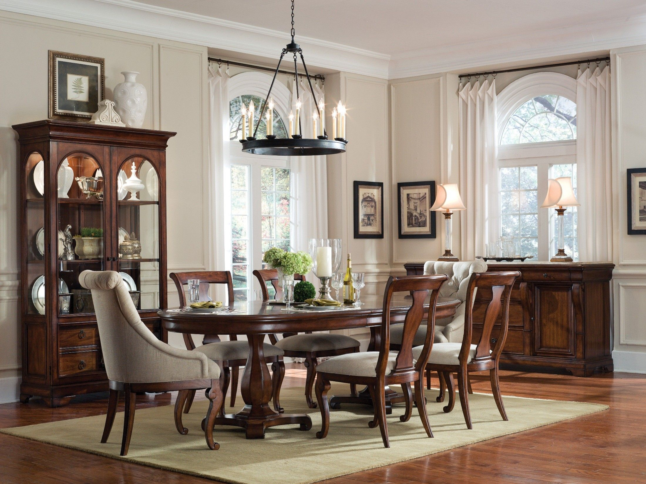 Art Margaux Oval Dining Room Set (table, Chairs, And China Cabinet) At
