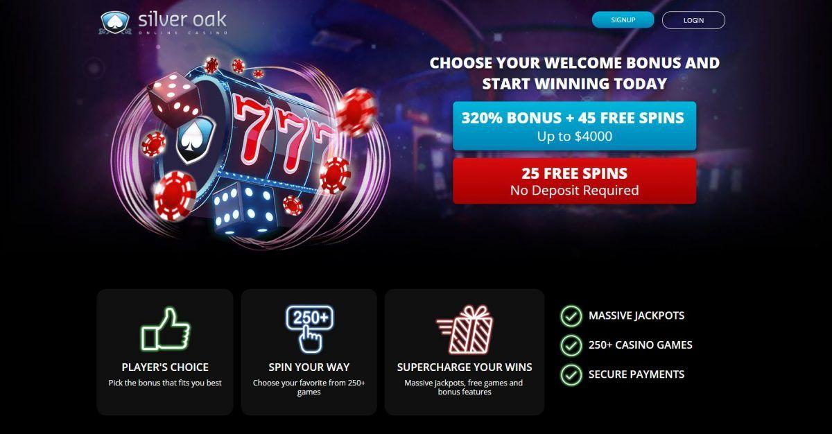 Silver Oak casino exclusive bonuses 320 match