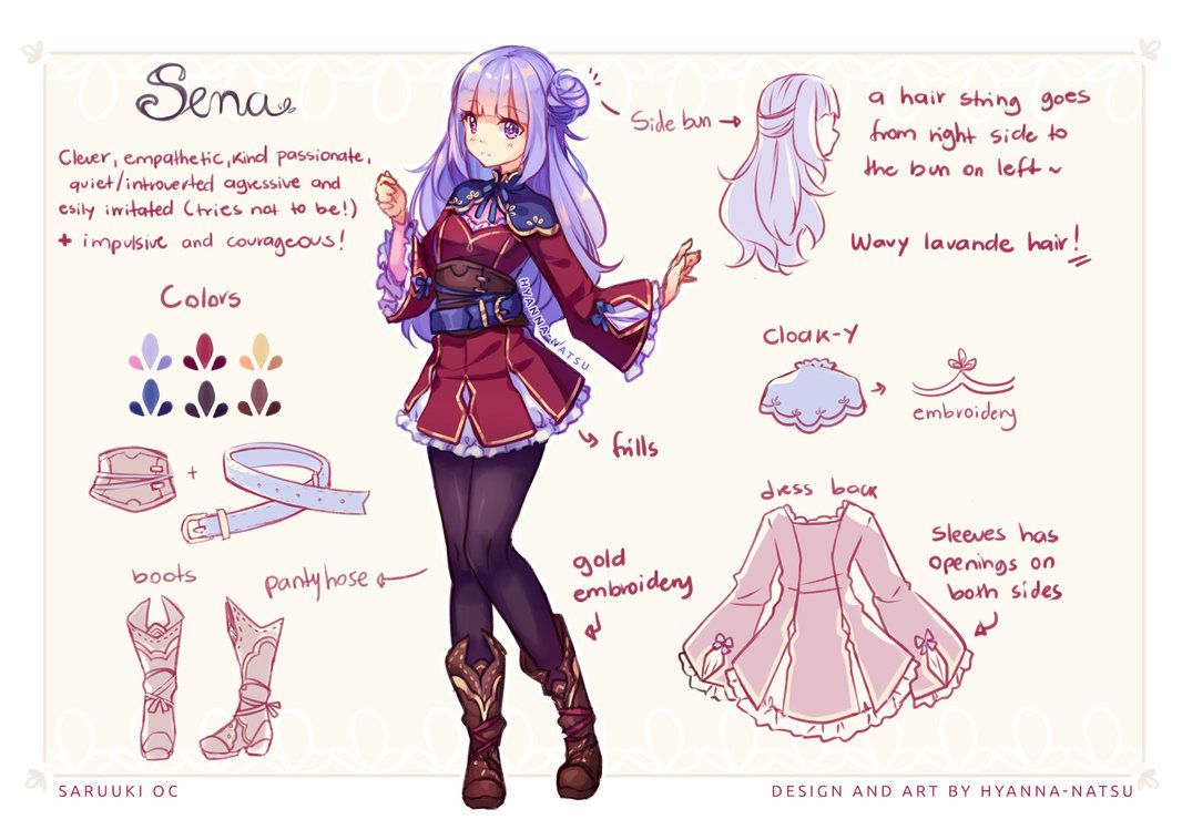 Fullbody Colored Sketch Character Design Reference Sheet Commission For Saruuki Hum Hum I Don 39 T Consider Mysel Cute Anime Character Natsu Anime Outfits