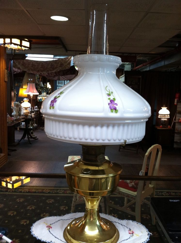 Aladdin Oil Lamp with Hand Painted Violets Lamp Shade