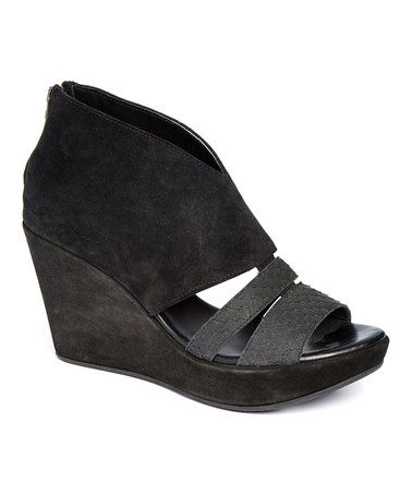 Loving this Black Riccardi Suede Wedge on #zulily! #zulilyfinds