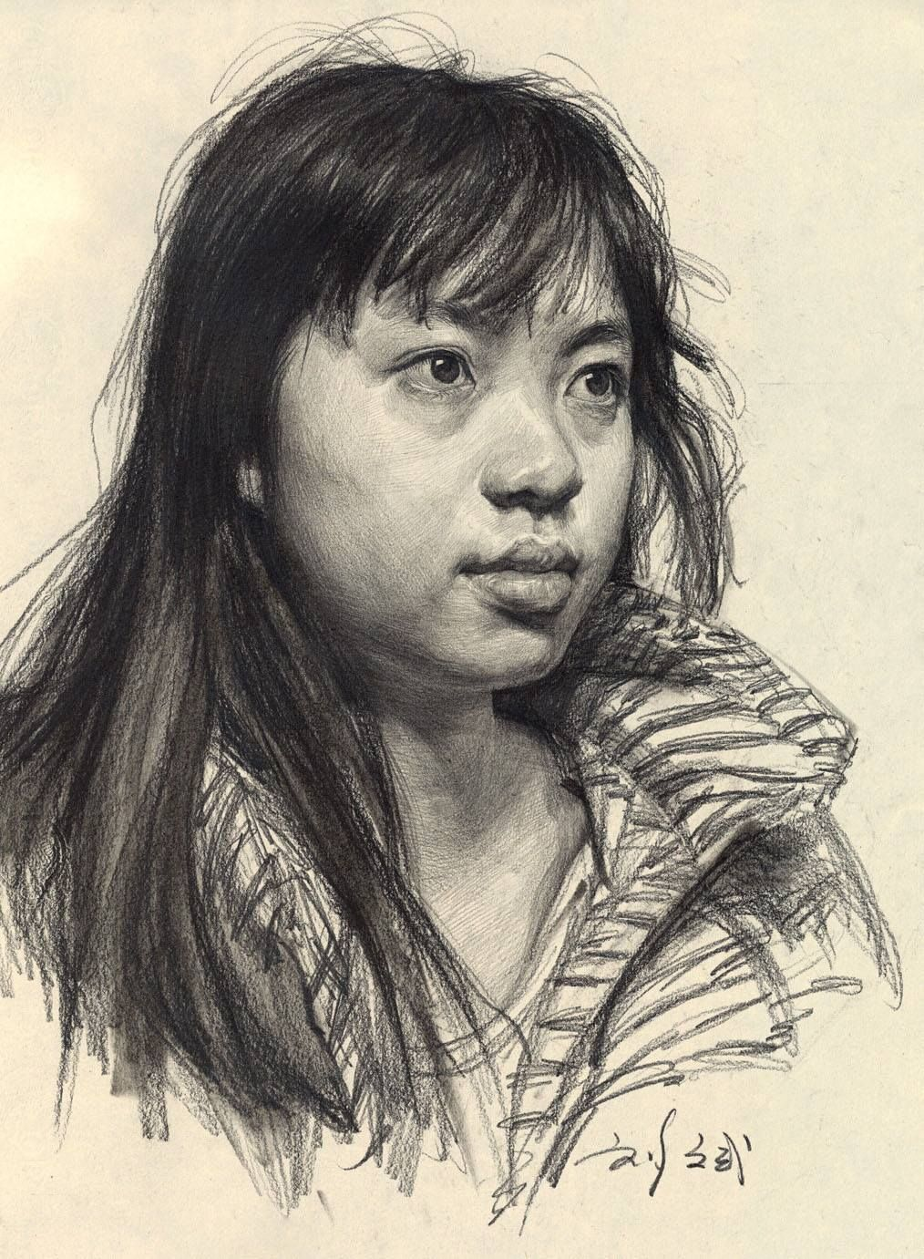 Asian female portrait drawing MY portrait drawings