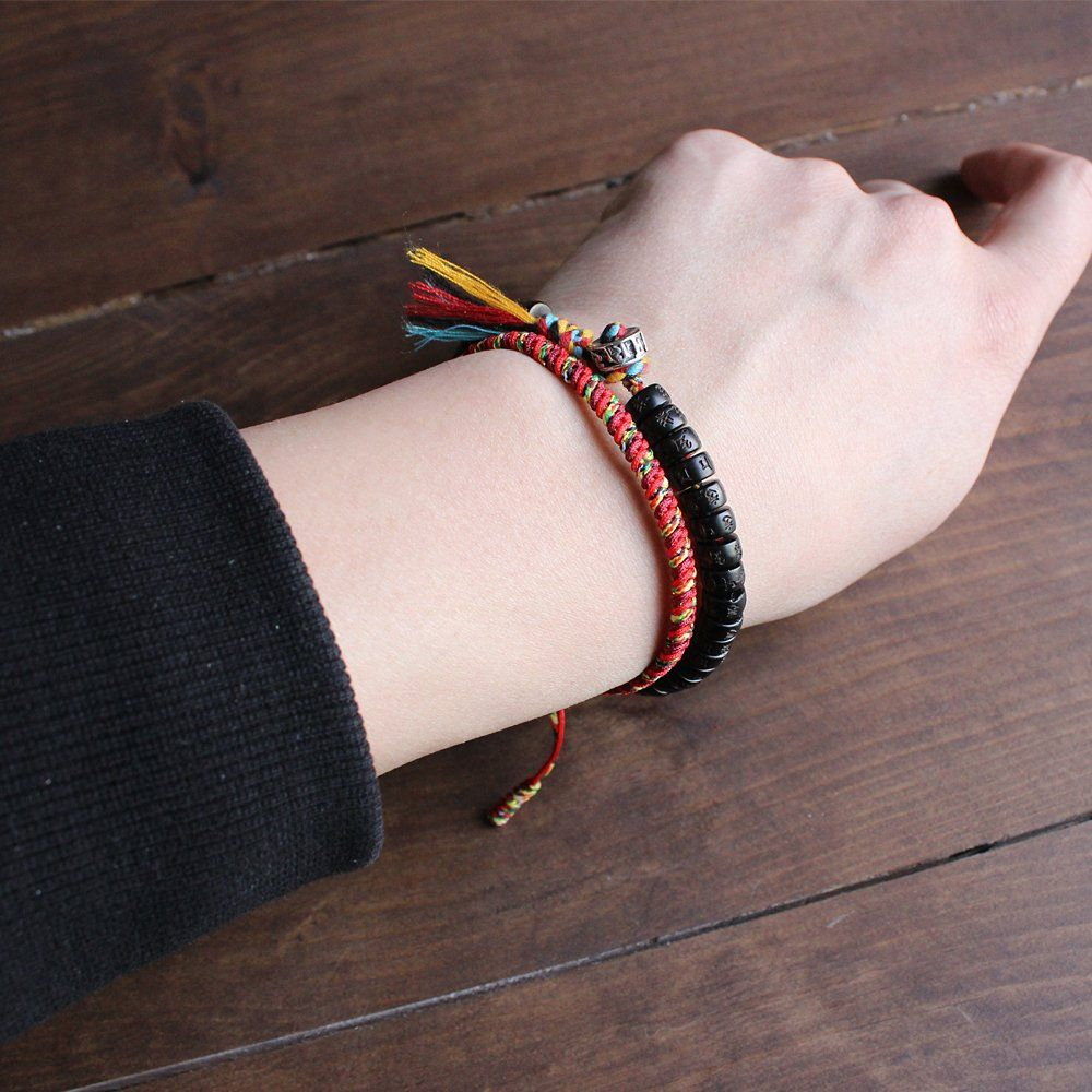 bbf348081af15 TALE Tibetan Buddhist Cotton Thread Lucky knots Bracelet With Hand-Carved  Six True Words Coconut Shell Beads  Handmade