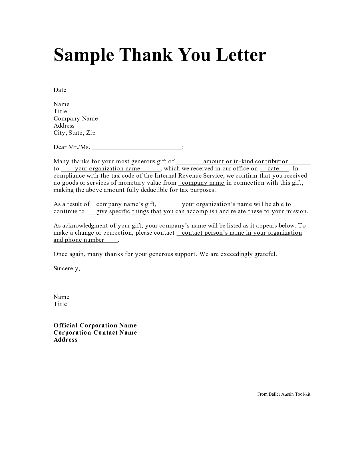 thank you letter samples