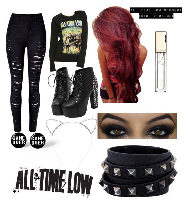 """""""All Time Low Concert (dudett version) I would totally wear this"""" by blacksoul2020 ❤ liked on Polyvore featuring WithChic, Lipsy, Clarins and Valentino"""