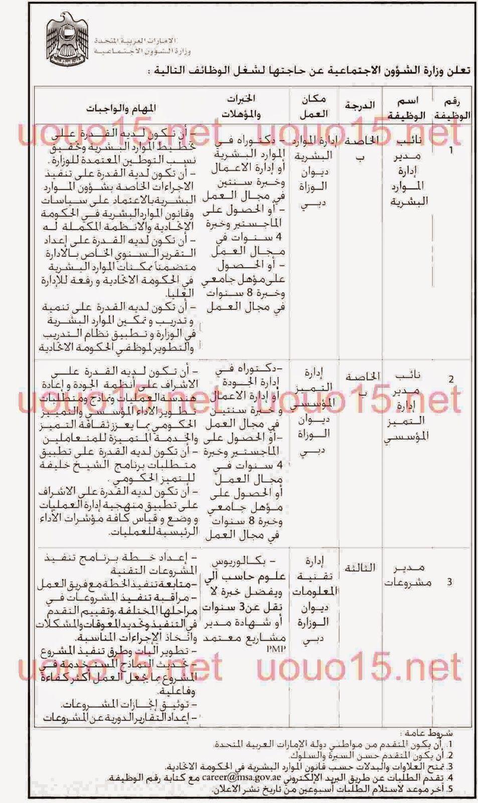 وظائف خاليه فى الامارات وظائف وزارة الشؤون الاجتماعية Blog Posts Blog Post