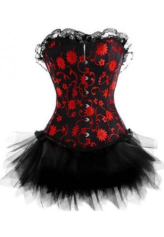 brocade floral jacquard tapestry corset with fishnet tutu