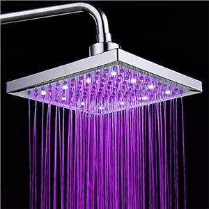 Colors Changing Led Chrome Shower Faucet Head Of 8 Inch Contemperature Control Alcachofas De Ducha Led Color Led