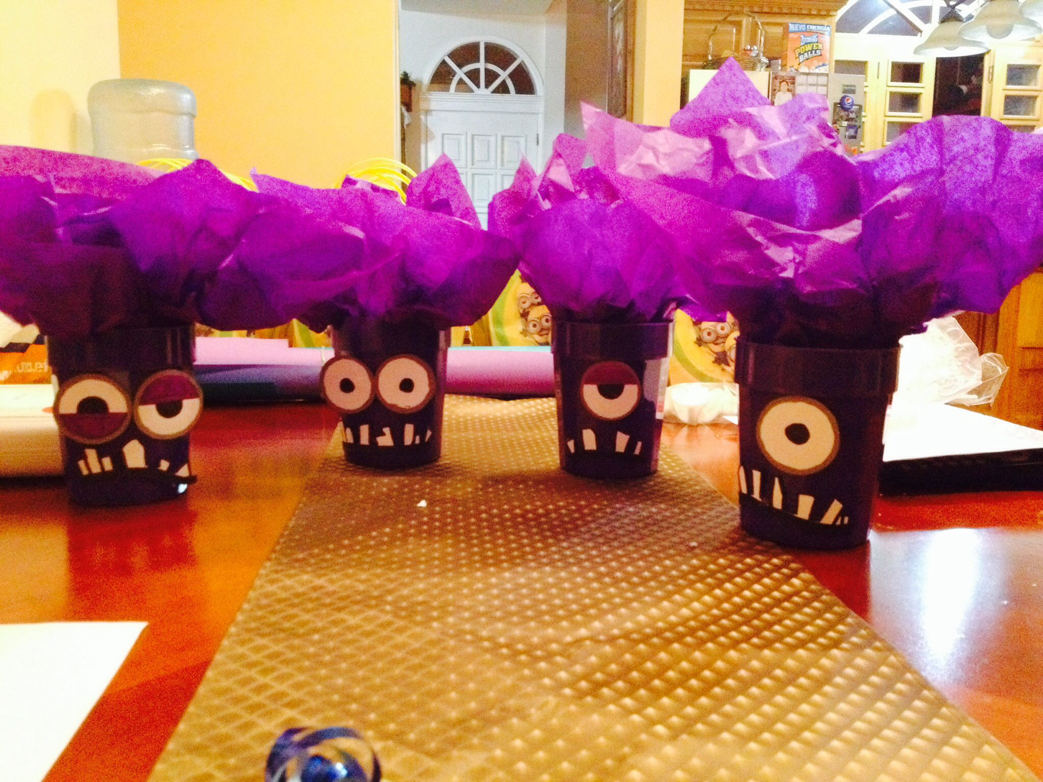 Purple minion centerpieces for birthday party ideas