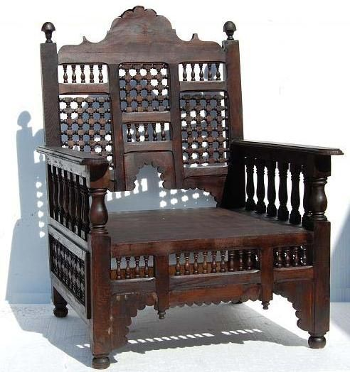 Moroccan Hand Carved Wooden Chair