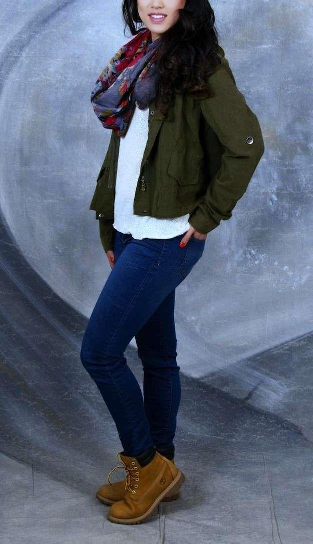 Ten confianza Privilegiado seré fuerte  Cómo combinar las botas de Timberland de mujer: Fotos de los modelos - Botas  Timberland con vaqueros oscuros | Botas timberland mujer, Ropa, Chaqueta  verde