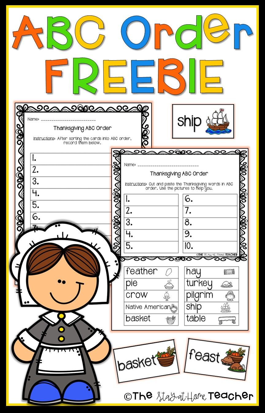 Your Students Will Love Practicing Abc Order With This Free Thanksgiving Themed Center Abc Order Thanksgiving Abc Thanksgiving Lessons [ 1344 x 864 Pixel ]