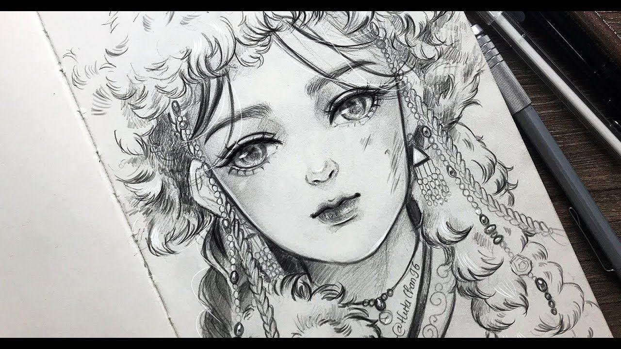 Draw Mongolian Girl Semi Realistic Style Realistic Drawings Cool Pencil Drawings Digital Art Anime