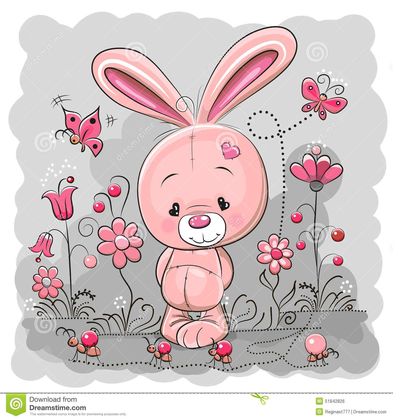Illustration About Cute Cartoon Rabbit On A Meadow With Flowers