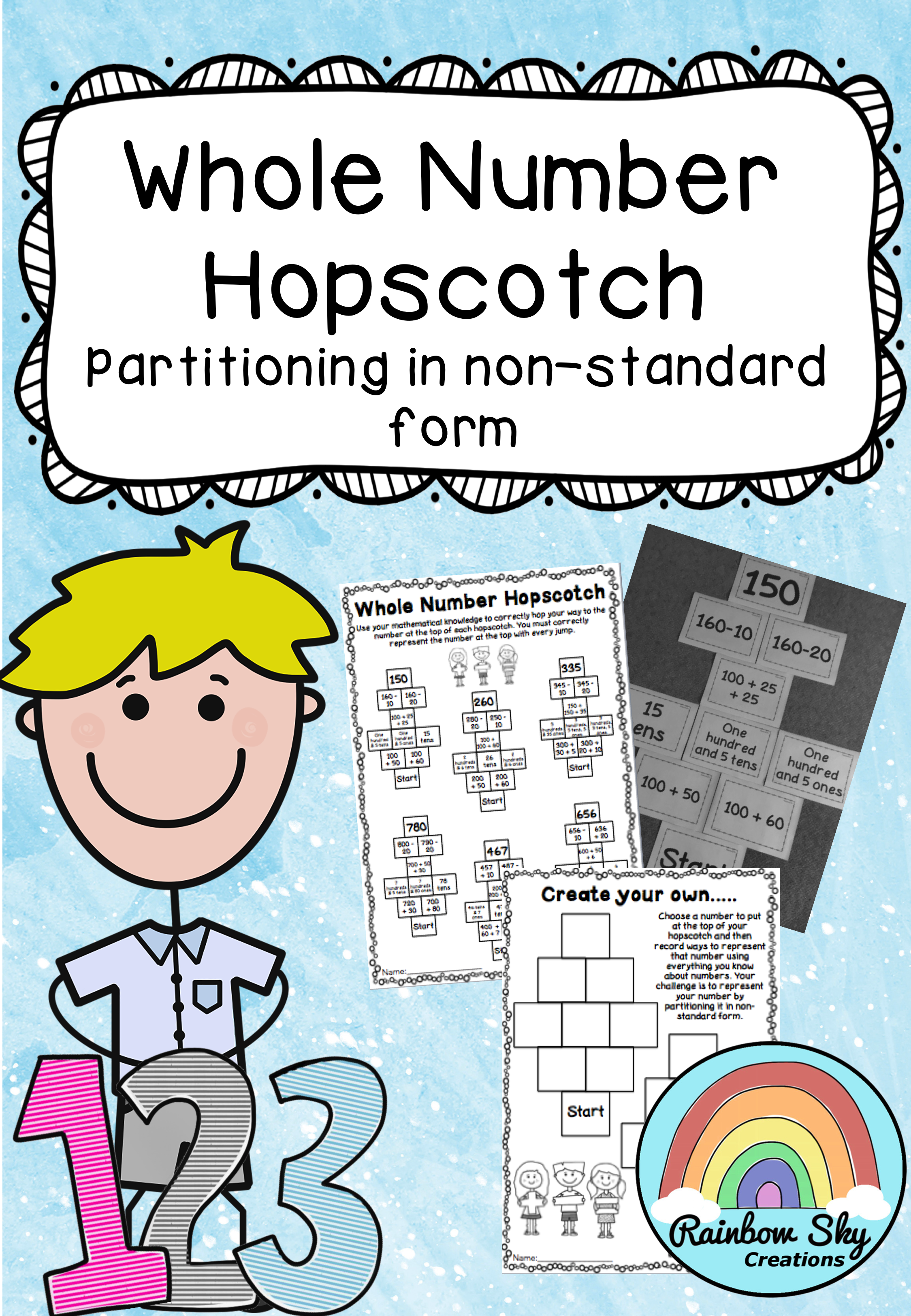 Partitioning numbers activity - Place Value hopscotch game: Year 2 ...