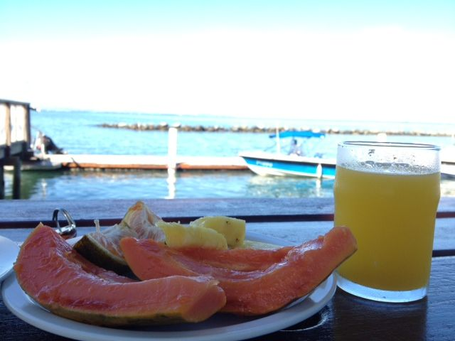 Organic fruits & Breathtaking view from the beachside breakfast table @ Anchorage Beach Resort, Vuda Point, Fiji Islands.