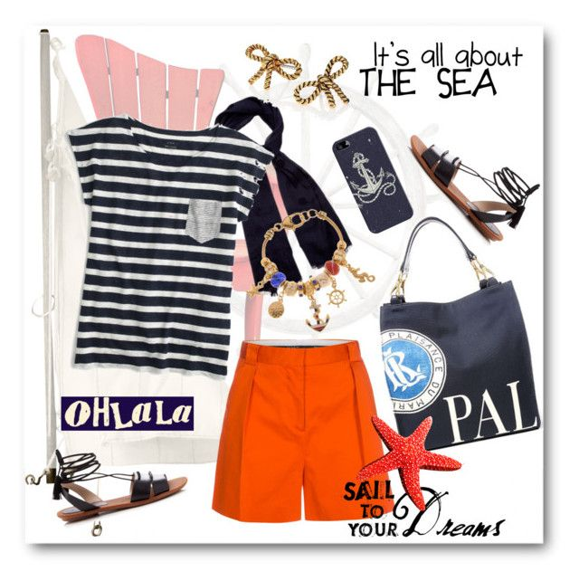 """Striped Shirt: Nautical Look"" by esch103 ❤ liked on Polyvore featuring Ralph Lauren, Paul Smith, Weekend Max Mara, J.Crew, Casetify, French Connection, Kim Rogers, Marc Jacobs and stripedshirt"
