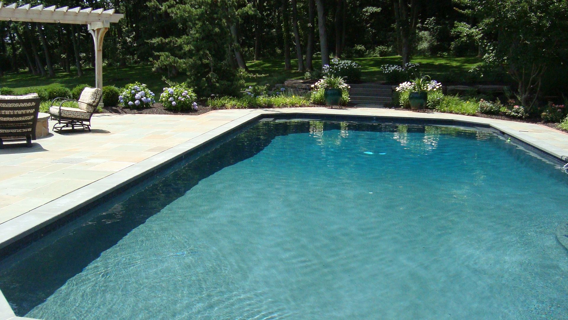 Rectangle Pool With Blue Stone Coping Aqua Bello Designs Custom Swimming Pools Spas