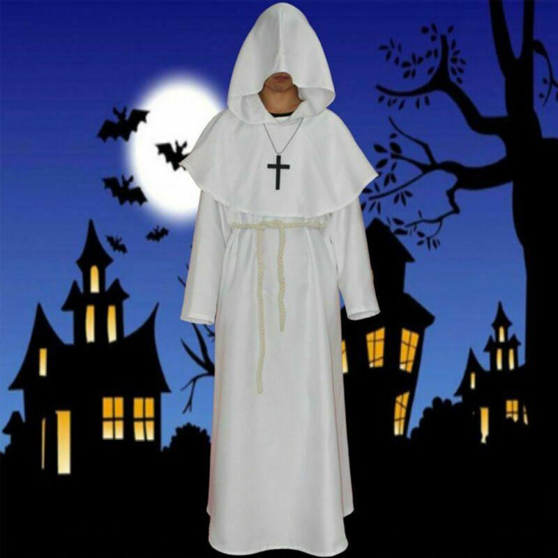 Medieval Monk Cowl Robe Wizard Friar Priest Halloween Fancy Cosplay Costume 2019