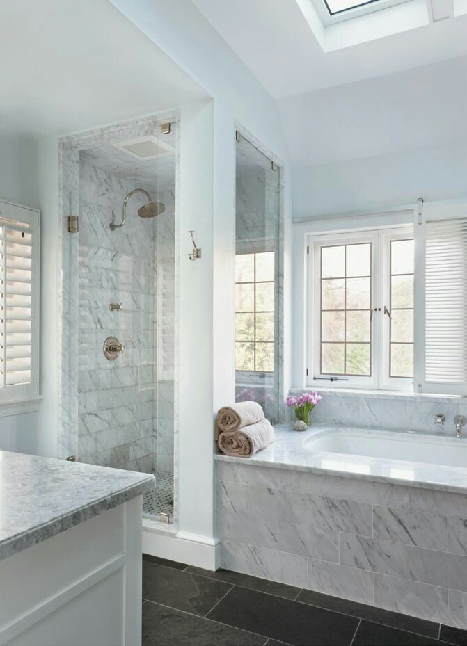 Marble bathroom, slate floor this idea would work so well in master