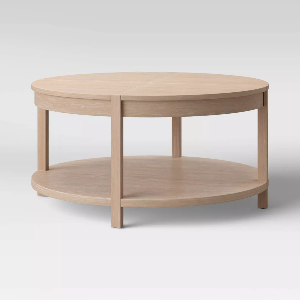 Porto Round Wood Coffee Table Bleached Wood Project 62 Round Wood Coffee Table Coffee Table Coffee Table Wood [ 1000 x 1000 Pixel ]